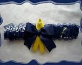 Chargers Navy Organza Fabric Ribbon Wedding Garter Toss ~~SALE~~~