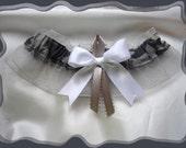 Grey Colored Camo Ribbon Wedding Garter Keepsake ~~~SALE~~