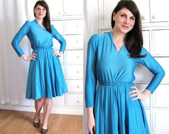 Blue Dress / 70s Disco Dress / 1970s Dress