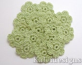 "Avocado Green 7/8"" Crochet 6-Petal Flower Embellishments Handmade Applique Scrapbooking Fashion Accessories - 16 pcs. (4150-01)"