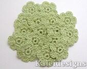 "Avocado Green 7/8"" Crochet 6-Petal Flower Embellishments Handmade Applique Scrapbooking Fashion Accessories - 16 pcs. (4150-01)"