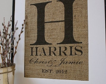 Free US Shipping...Personalized Rustic Burlap Print and Sign. Great for wedding gift, engagement gift, anniversary gift!