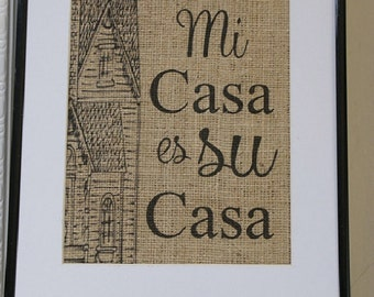 Free US Shipping...Personalized Family Casa Burlap Print