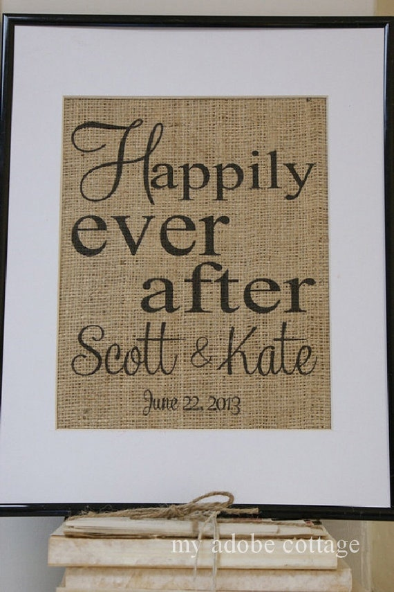 Free US Shipping...Personalized Rustic Wedding and Engagement Burlap Print...great gift!