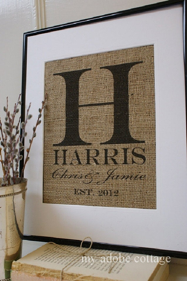 Monogrammed Wedding Gifts Ideas : Personalized Wedding Gift. Rustic Burlap Print and Sign. Great