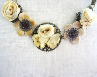 Cream ribbon rose and rosebud brass Victorian necklace