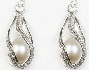 8pcs silver plated - Twisted - Teardrop pearl Cage Pendants -
