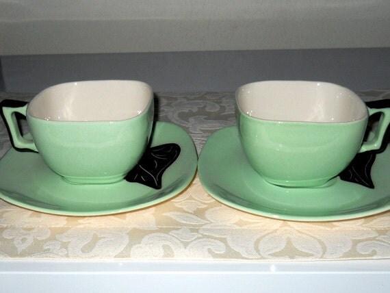 Vintage Del Mar Cups Saucers Santa Anita Ware 1950s