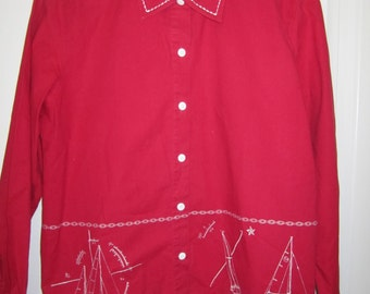 RED SHIRT w NAUTICAL embroidered in White vintage sz L
