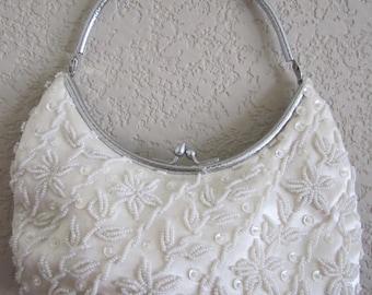 BEADED Evening Handbag vintage Purse White Beads Sequins