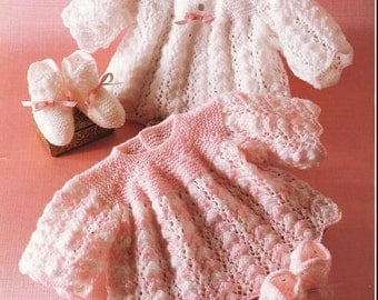 Baby Knitting Pattern - Baby's Angel Tops 14-18 inch chest and Booties/Bootees