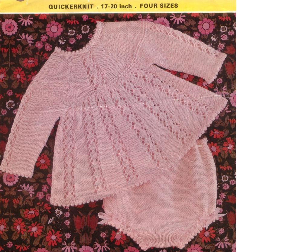 BABY KNITTING PATTERN Angel Top/Dress and Knickers/Panties
