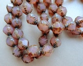 6 Premium Czech Glass Beads - Carved Bicone Beads - Milky Pink Picasso