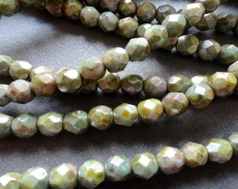 6mm Fire Polished Beads - Grey Green Bronze Picasso - Faceted Rounds - Czech Glass Beads