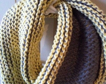 Kid Scarf - Cowl - Scarf - Yellow and Gray Grey Two Toned Toddler Infinity Cowl