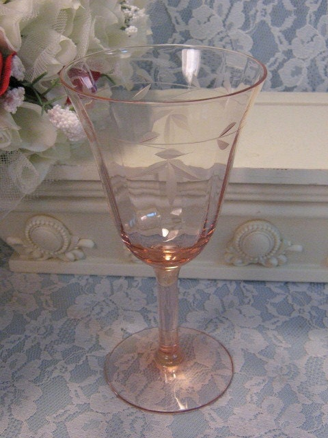 Vintage Pink Depression Glass Etched Floral Wine Or Water