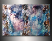 Original Textured Modern Large Abstract Metallic Thick Texture Gallery Canvas Contemporary Fine Art By Henry Parsinia 36x24