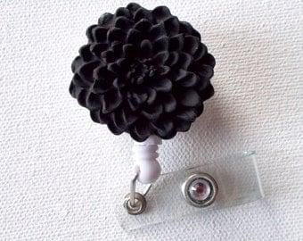 Black Chrysanthemum Flower  - Name Badge Holder - Retractable ID Badge Reel  - Nurse ID Badge Clip - Flower Badge Holder
