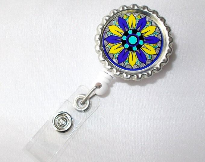 Funky Flower Purple and Yellow - Flower Badge Holder -  Nursing Badge Holder - ID Badge Reel - Nurse ID Badge Clip