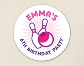 Pink Bowling Party - Custom Stickers - Sheet of 12 or 24