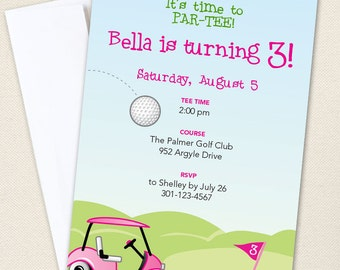 Pink Golf Party Invitations - Professionally printed *or* DIY printable