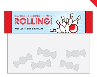 Bowling Party - Personalized DIY printable treat bag label