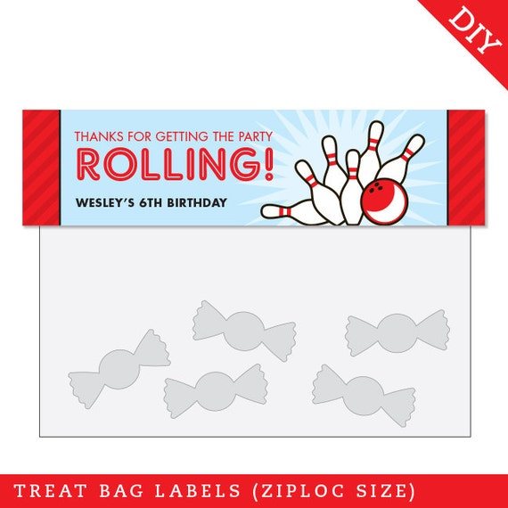 Bowling Party Personalized DIY printable treat bag label