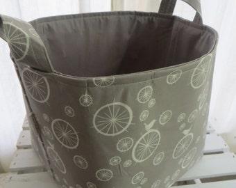 Storage Basket bin 10 X 10 x 10 organic Birdie spoke fabric with gray lining