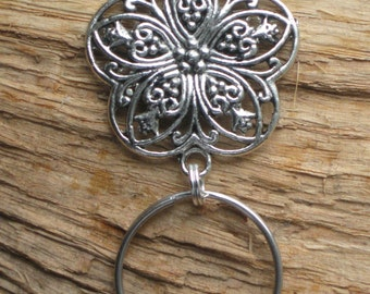 Flower .. Silver Filigree Magnetic ID Badge - Eyeglass holder .. Free S/H