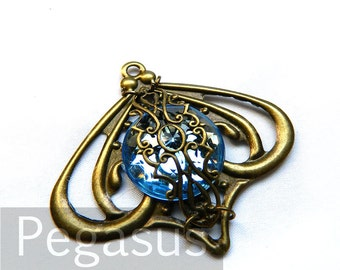 Topaz Blue elven hour glass Filigree pendant (3 Pieces, 12 color option) Acrylic Flatback Jewelry Gem for steampunk,elven,larp,cosplay