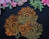 Fall Autumn Flowers Hand Dyed Vensie Lace Applique Embellishment