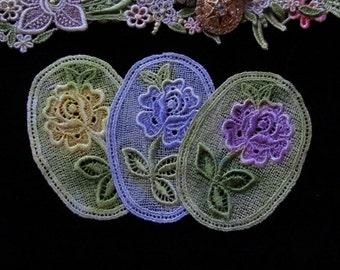 Rose Medallion Hand Dyed Venise Lace Crazy Quilt Applique Embellishment