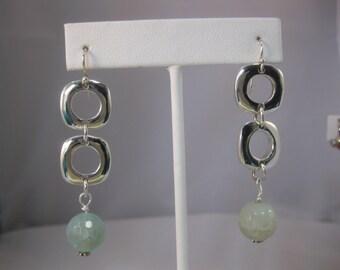 Sterling Silver Cushion and Ocean Agate Dangle Earrings
