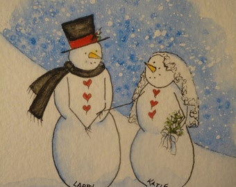"""4x6"""" Personalized snowmen to delight those who are special to you.  Original watercolor/pen/ink."""