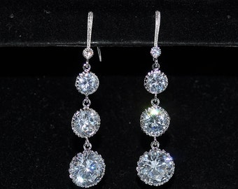 Wedding Bridal Bridesmaid Sparkling Quadruple Round Earrings - Custom Requests Welcome