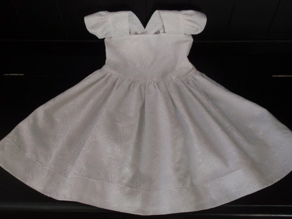 Baptism Dress Christening Dress First Communion White Eyelet Flutter Straps Fully Lined Dress Infant Baby Girl by Hopscotch Avenue