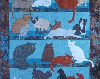 Too Many Cats 2 Machine Applique Pattern by Debora Konchinsky, Critter Pattern Works