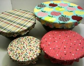 Food Prep Reusable Bowl Covers, Eco Friendly, food storage apples bright colors wedding gift , Ready to Ship