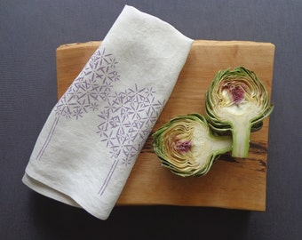 Tea Towel - Organic Linen Kitchen Towel -  Allium Flowers - Hand Screen Printed Dish Towel