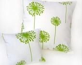 Pillow set, dandelion pillows, Summer decorative pillows, chartreuse lime, Summer flowers clean, crisp, simple, pillow set, home decor