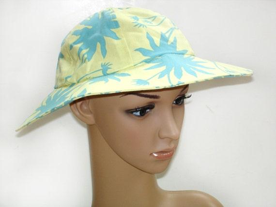 Summer cotton hat,  garden beach sun, Sale, turquoise yellow tropical print, wide brim, womens beach hat, garden hat