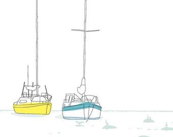 Carococo / voiliers 12x18 / illustration by Carol-Anne Pedneault