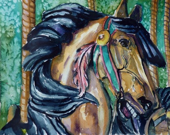 Carousel Horse Watercolor Print by Maure Bausch