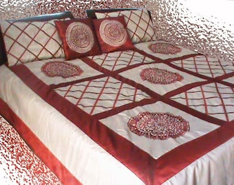 Boho Mandala Bedding-Christmas Quilted Throw-Blanket-Red Quilt-Modern Bedspread