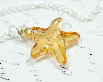 Topaz Starfish Necklace, Golden Swarovski Crystal Sea Star Pendant, Champagne Crystal Star fish Jewelry, Natural Color Beach Jewelry