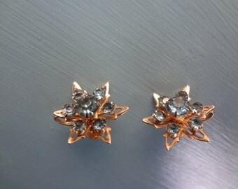 Vintage Coro  Atomic Earrings with Blue Rhinestones