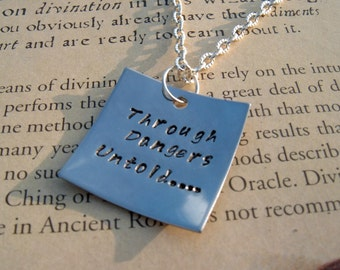 "Labyrinth  Quote Stamped Pendant ""Through Dangers Untold"""
