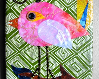 Songbird - Fabric collage wall art - Ready to Hang