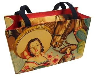 CHARRAS Cowgirls pin up girls Latino  US handmade Handbag Purse Alexander Henry Fabric, new