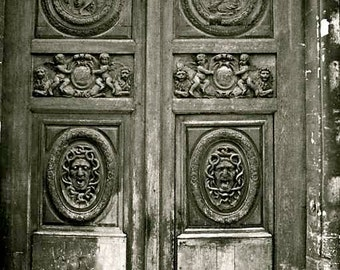 Creepy Old Doors Paris Medusa Gorgon Faces Marais Carved Medieval Wood Door Writhing Snakes Fine Art Photography Black and White Photo Print